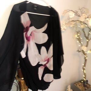 Alfani black shear floral blouse 1X